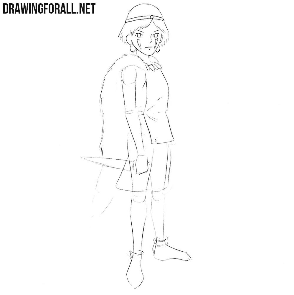 How to draw Princess Mononoke easy