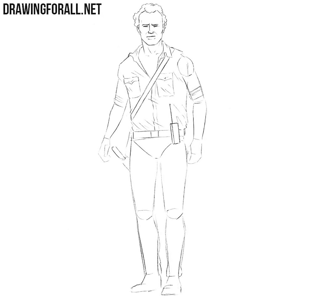 How to draw Rick Grimes from Walking Dead