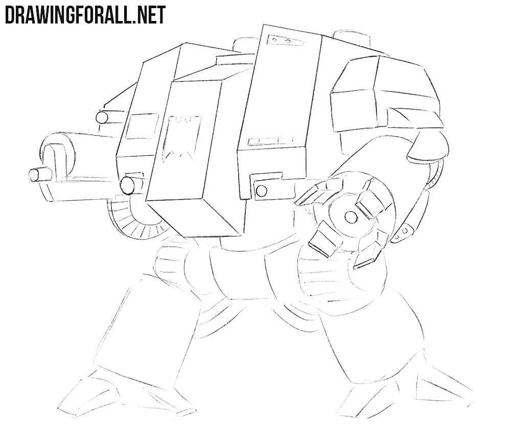 How to draw a dreadnought from warhammer step by step