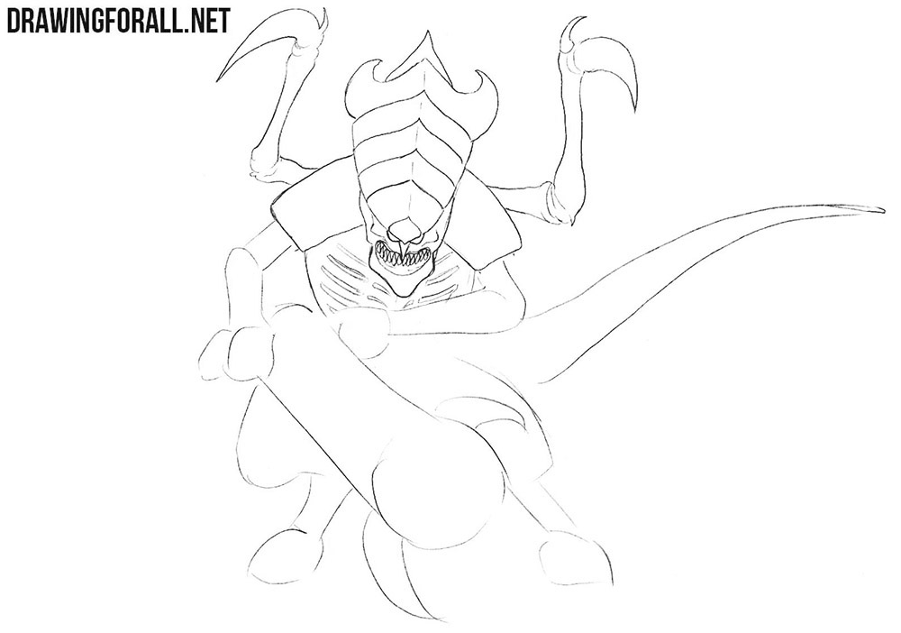 How to draw a tyranid from warhammer