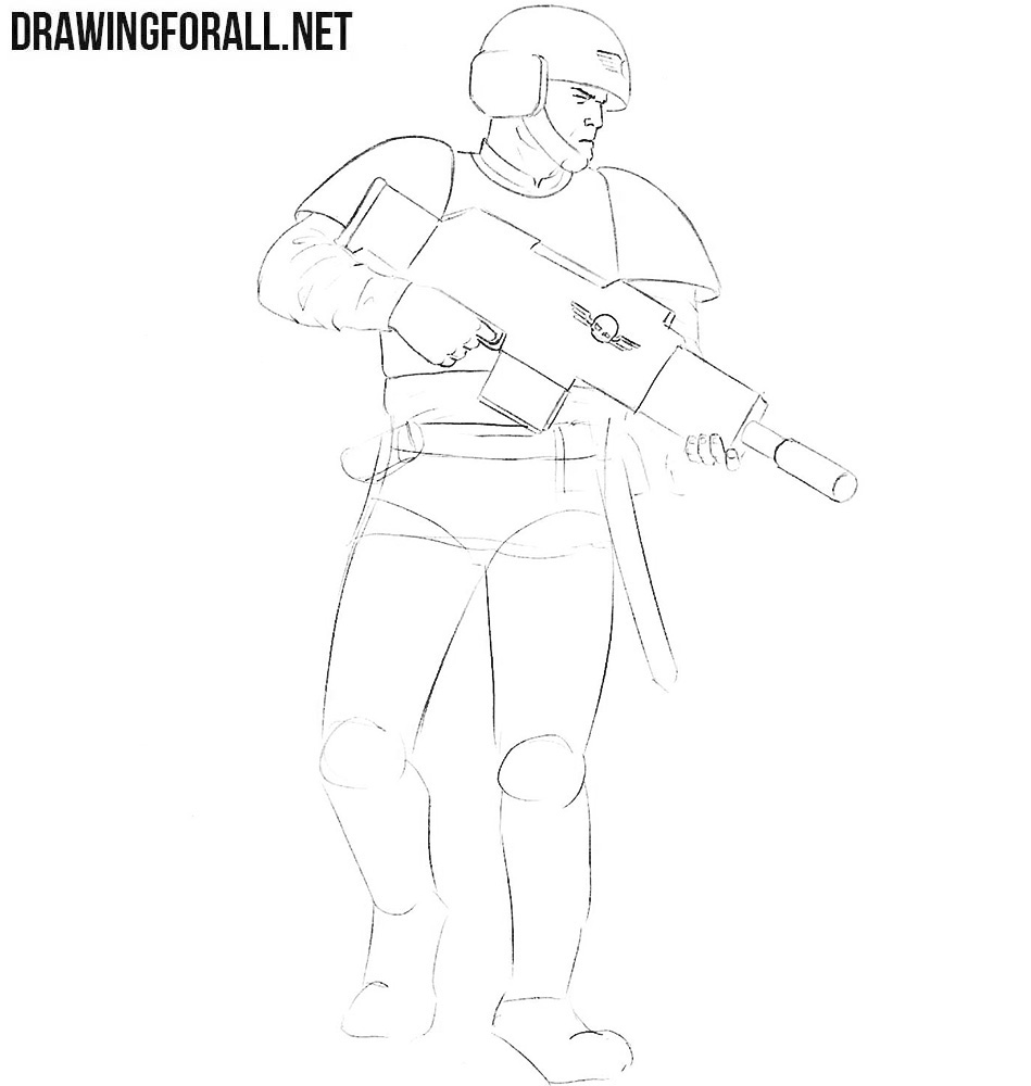 How to draw an Imperial Guard from warhammer 40000