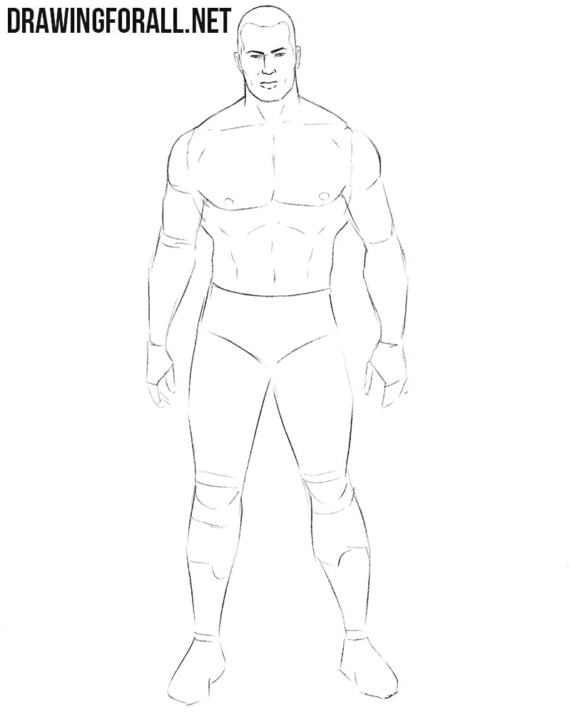How to sketch a wrestler step by step