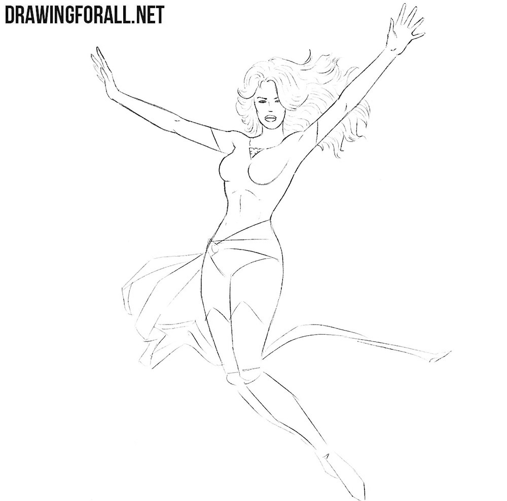 How to draw Jean Grey from X-Men