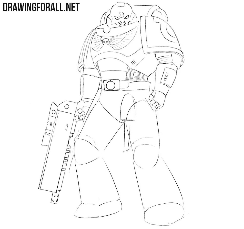 How to draw a Space Marine from Warhammer