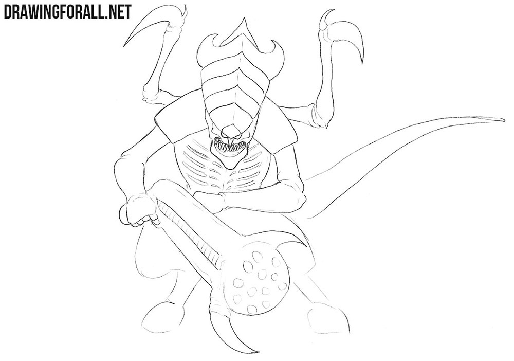 How to draw a tyranid from Warhammer 40000