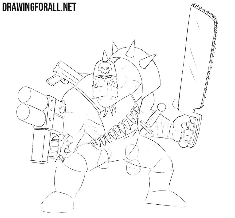 How to draw an ork from Warhammer 40000