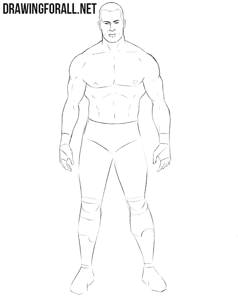 Learn how to draw a wrestler step by step