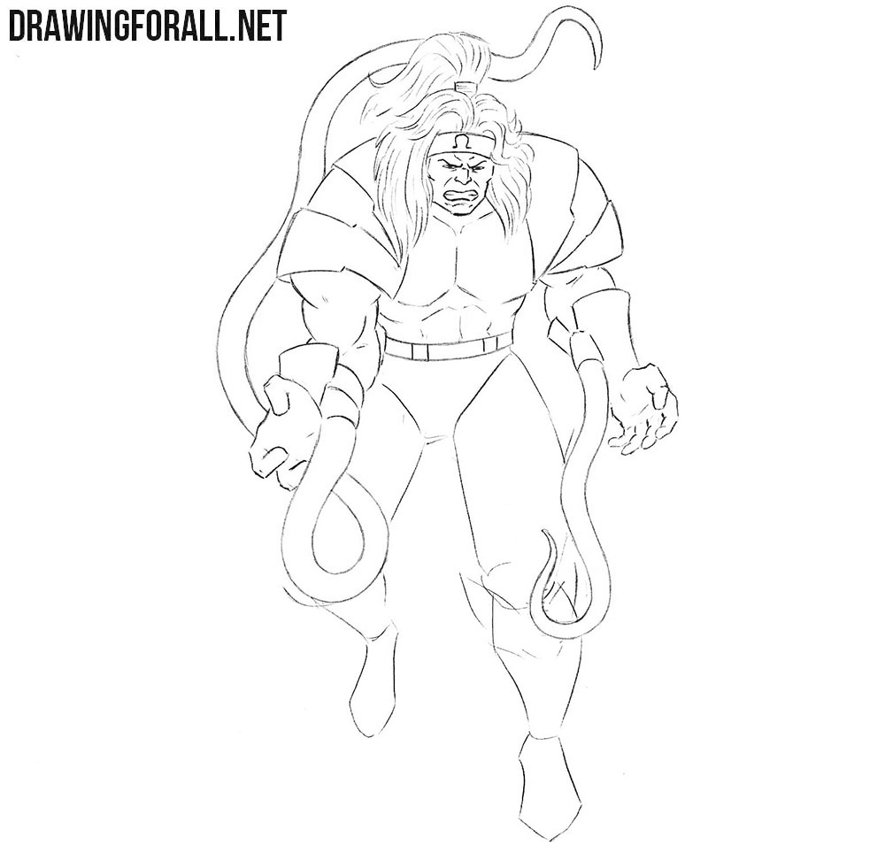 How to draw Omega Red step by step