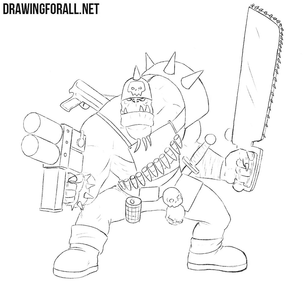 Ork from warhammer drawing tutorial