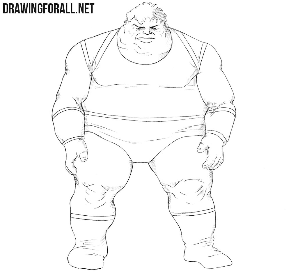 How to draw Blob from Marvel comics