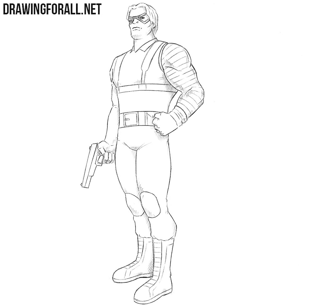 How to draw Bucky Barnes