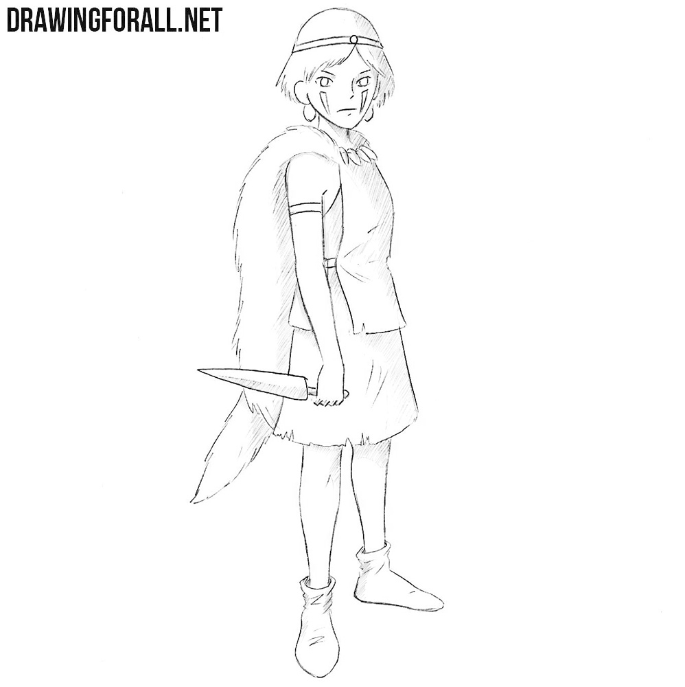 How to draw Princess Mononoke