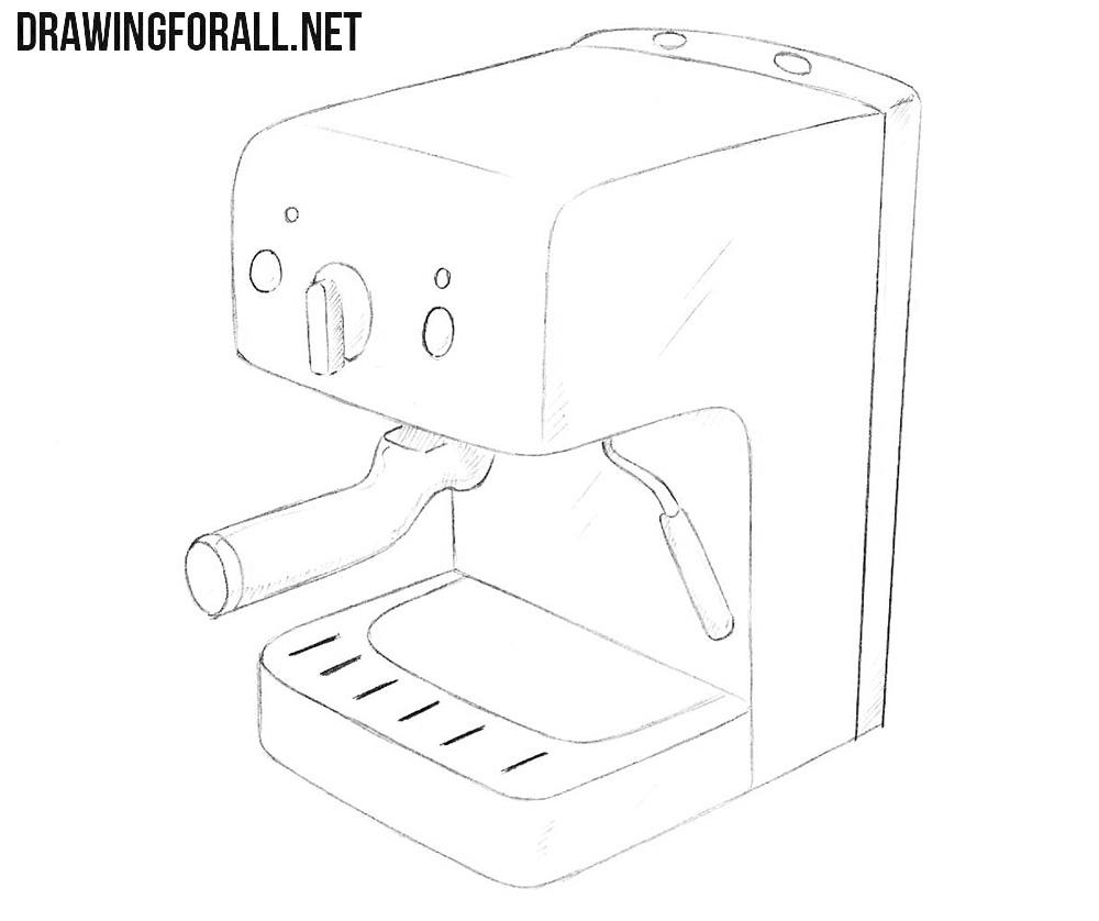 Coffee maker drawing tutorial