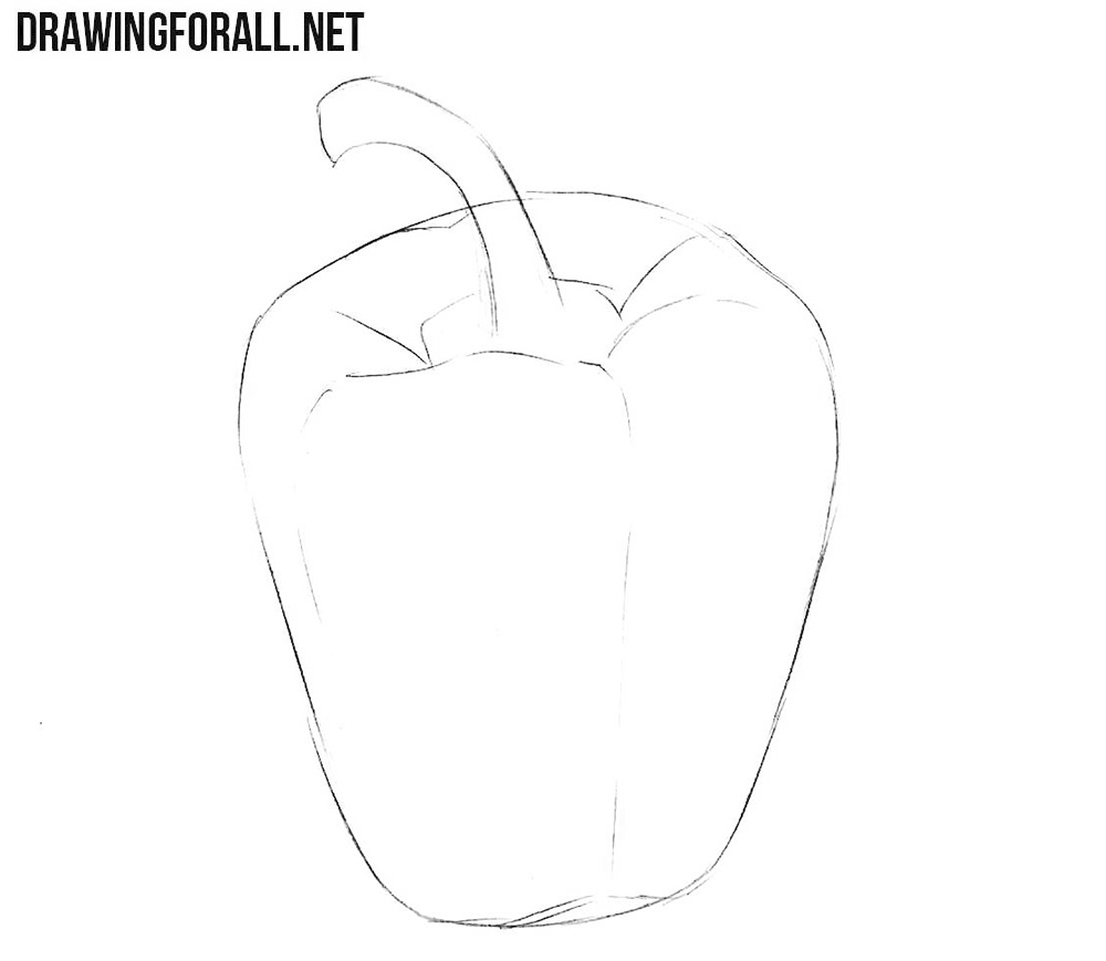 How to draw a bell pepper step by step