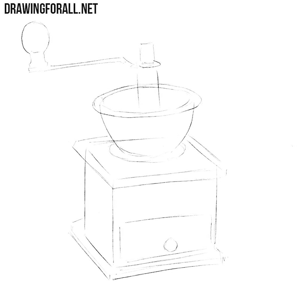 How to draw a coffee grinder step by step