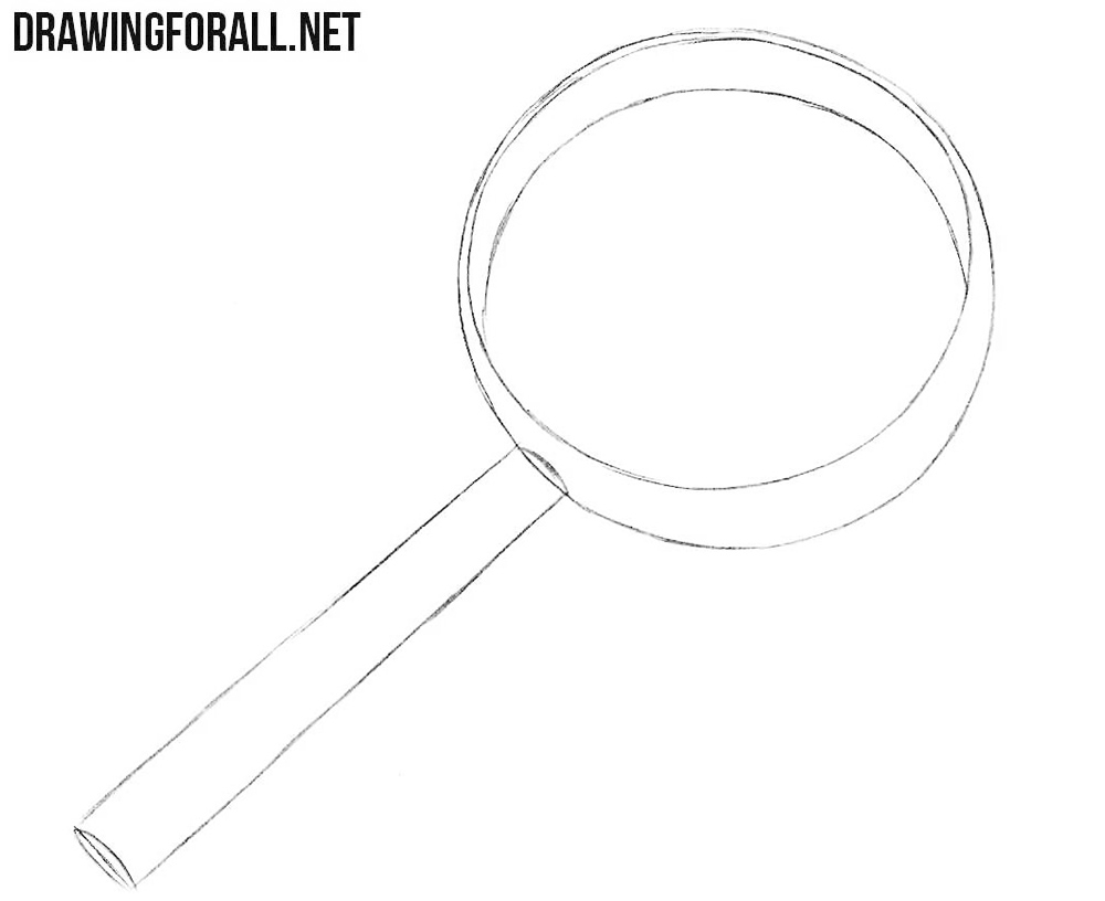 How to draw a magnifier step by step