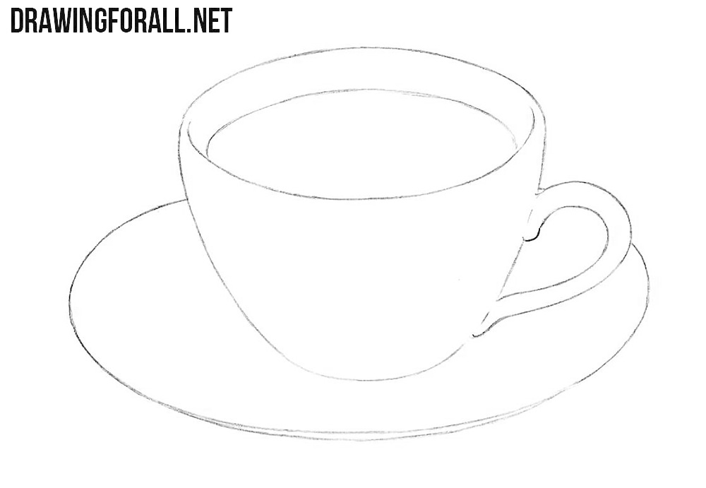 How to draw a cup of coffee step by step