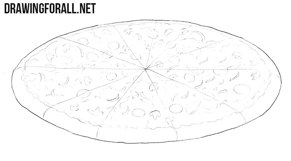 How to draw a pizza easy