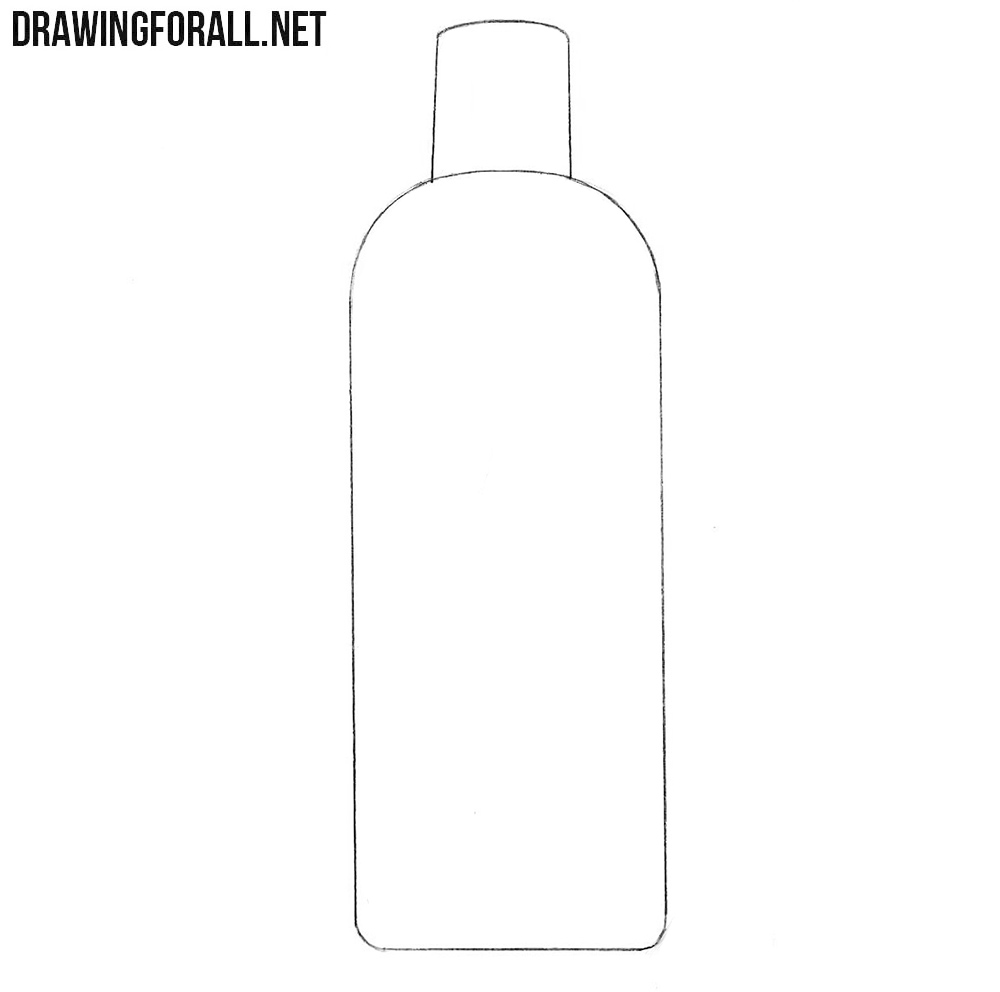 How to draw a shampoo bottle