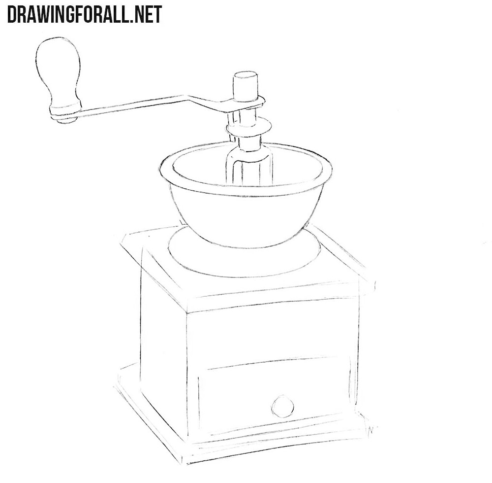 Learn how to draw a coffee mill