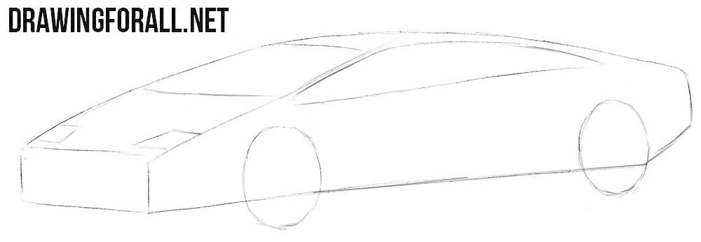 How to draw a Lamborghini Diablo easy