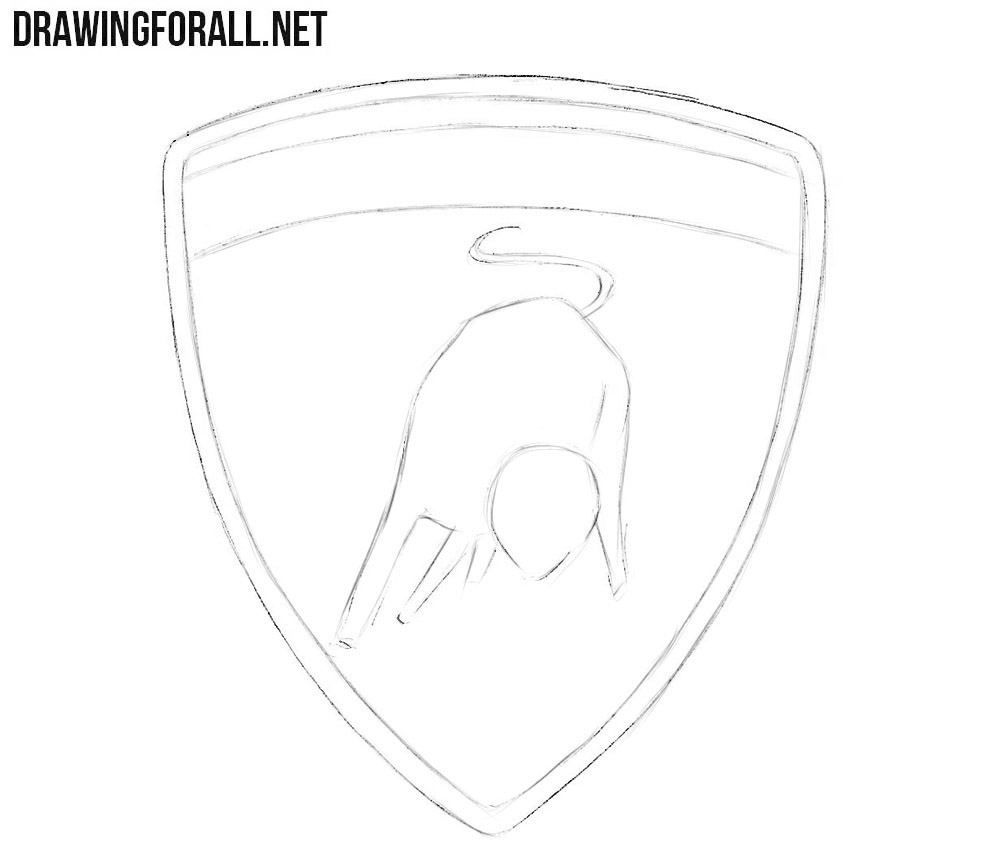 How to draw the Lamborghini logo step by step