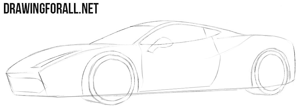 How to draw a Ferrari 488 easy