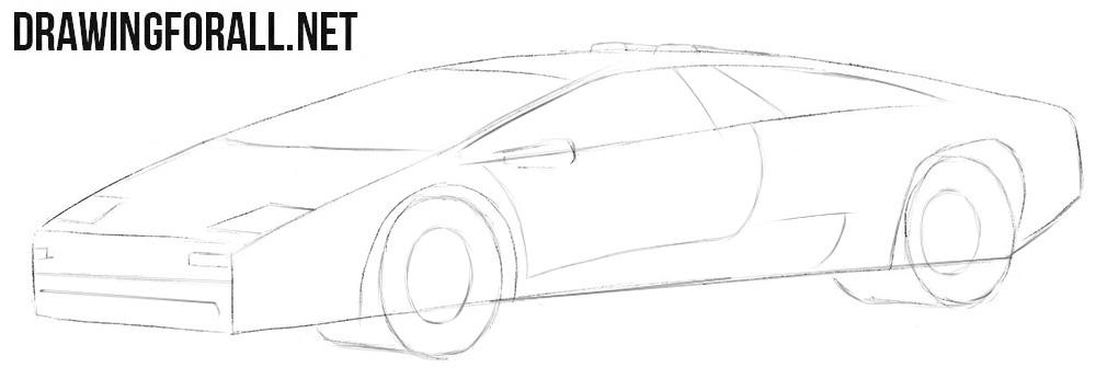 How to draw a Lamborghini Diablo car