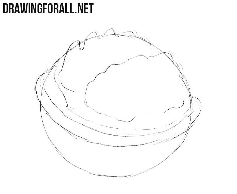 How to draw a walnut step by step easy