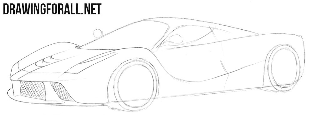 How to draw a Ferrari Laferrari step by step