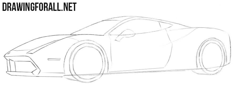 How to draw a Ferrari step by step