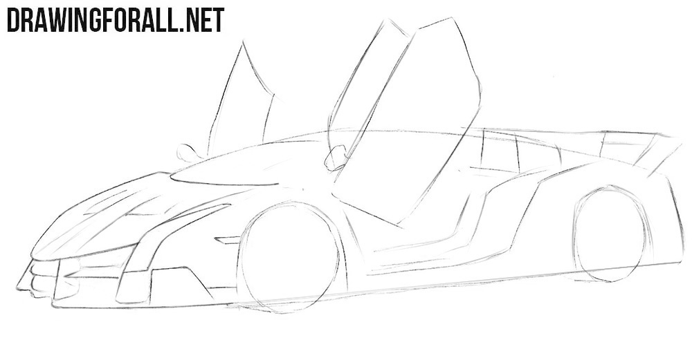 How to draw a Lamborghini Veneno easy