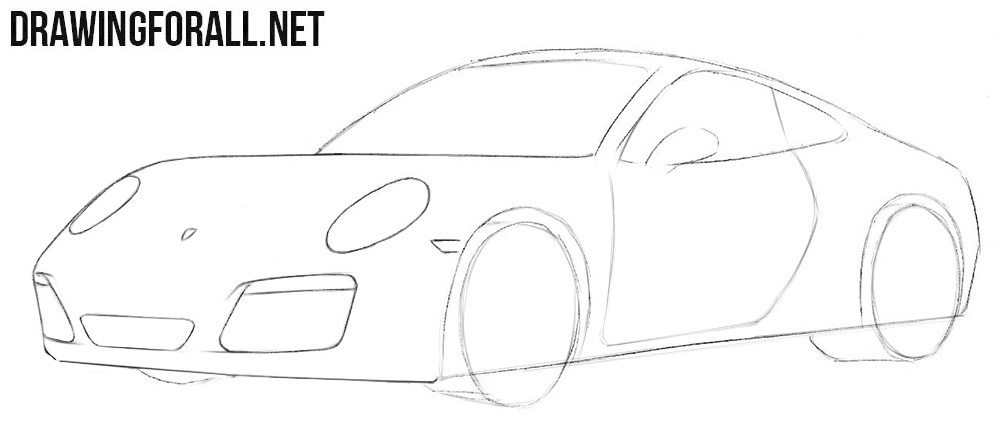 How to draw a Porsche step by step easy