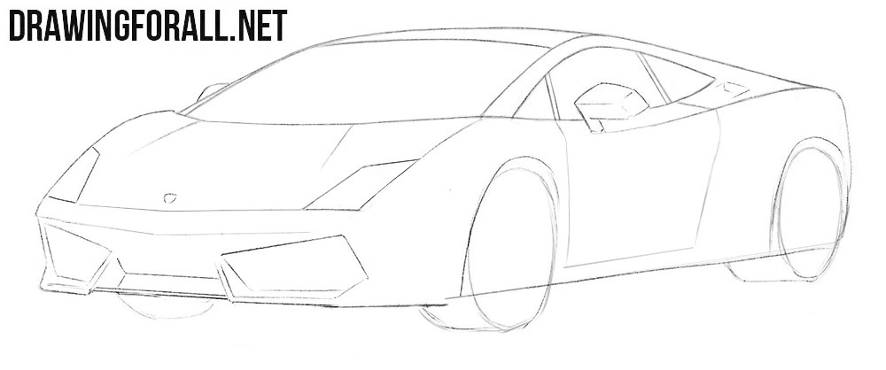 How to draw a Lamborghini Gallardo easy