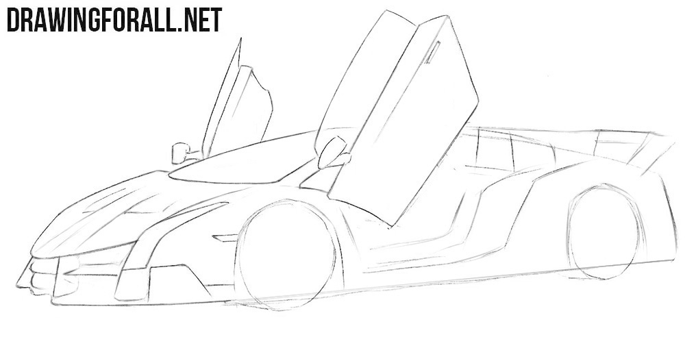 How to draw a Lamborghini Veneno step by step