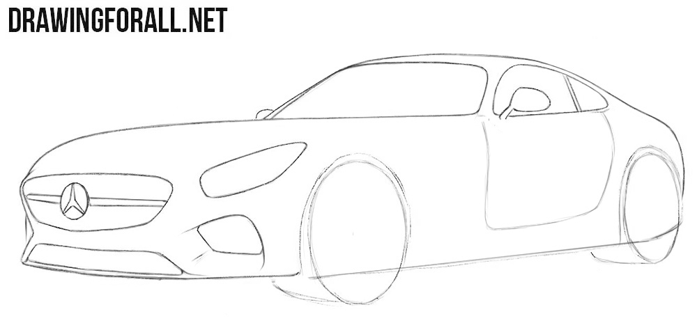 How to draw a Mercedes for beginners step by step