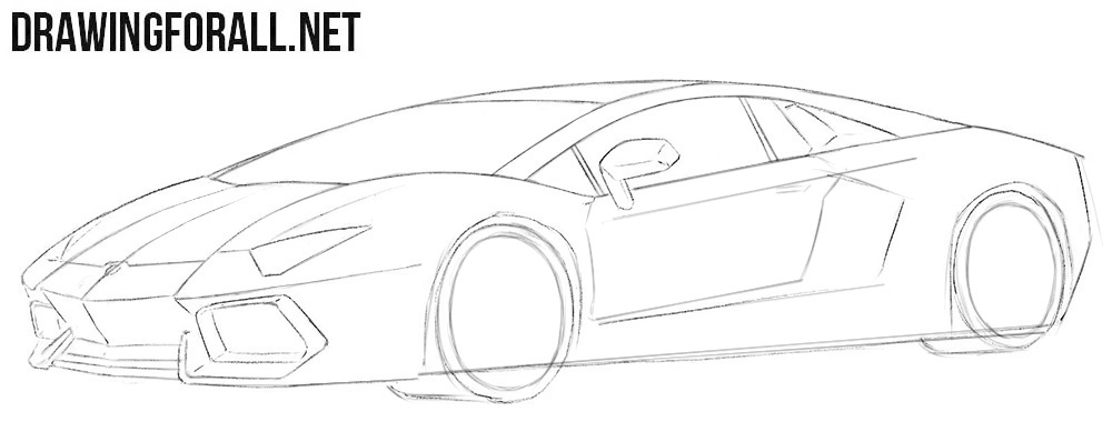 How to draw a car Lamborghini Aventador