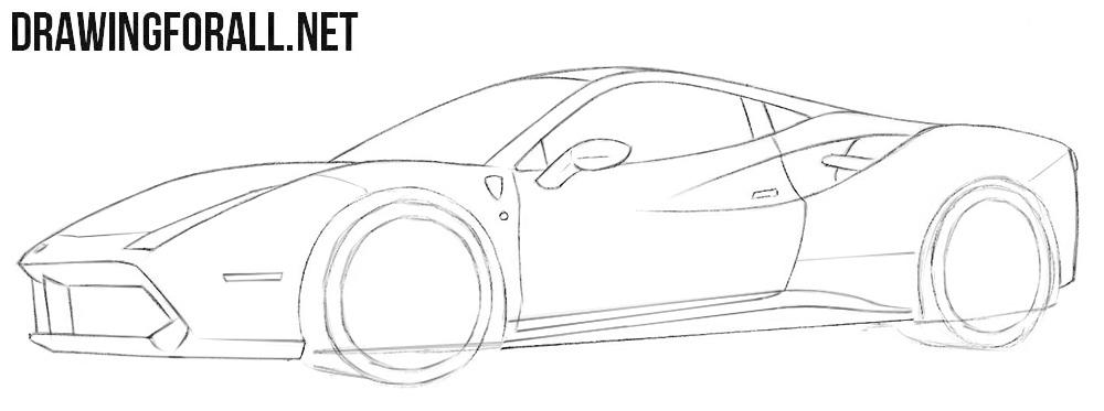 How to draw a Ferrari supercar