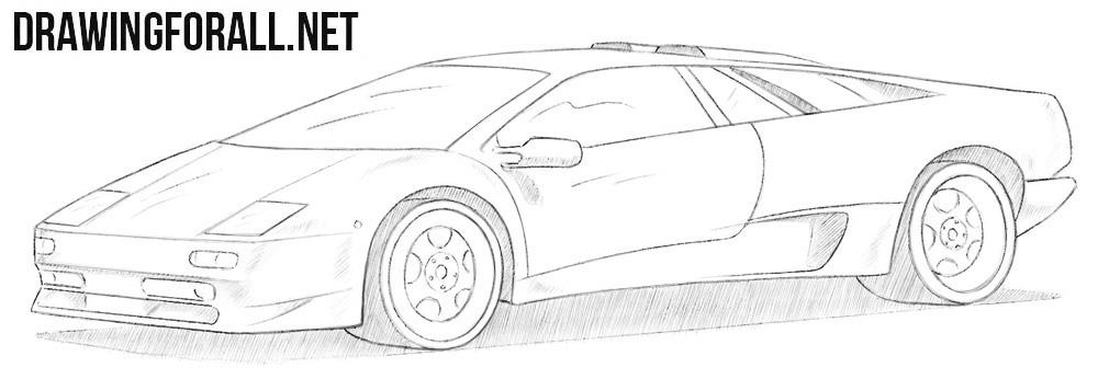 How to draw a Lamborghini Diablo