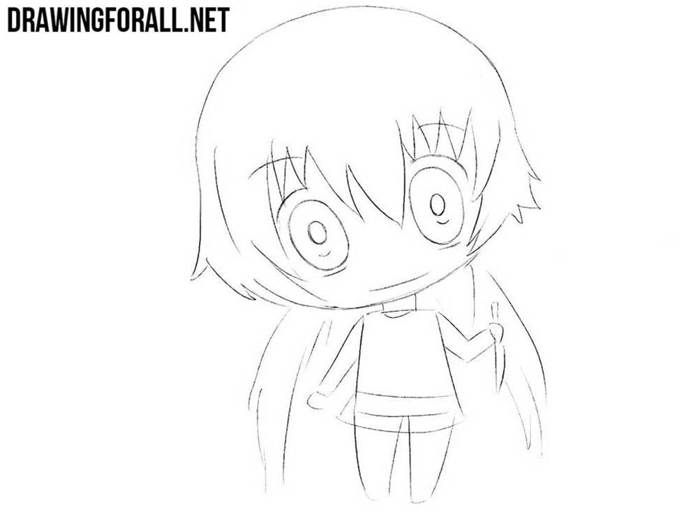 How to draw chibi Yuno Gasai for beginners