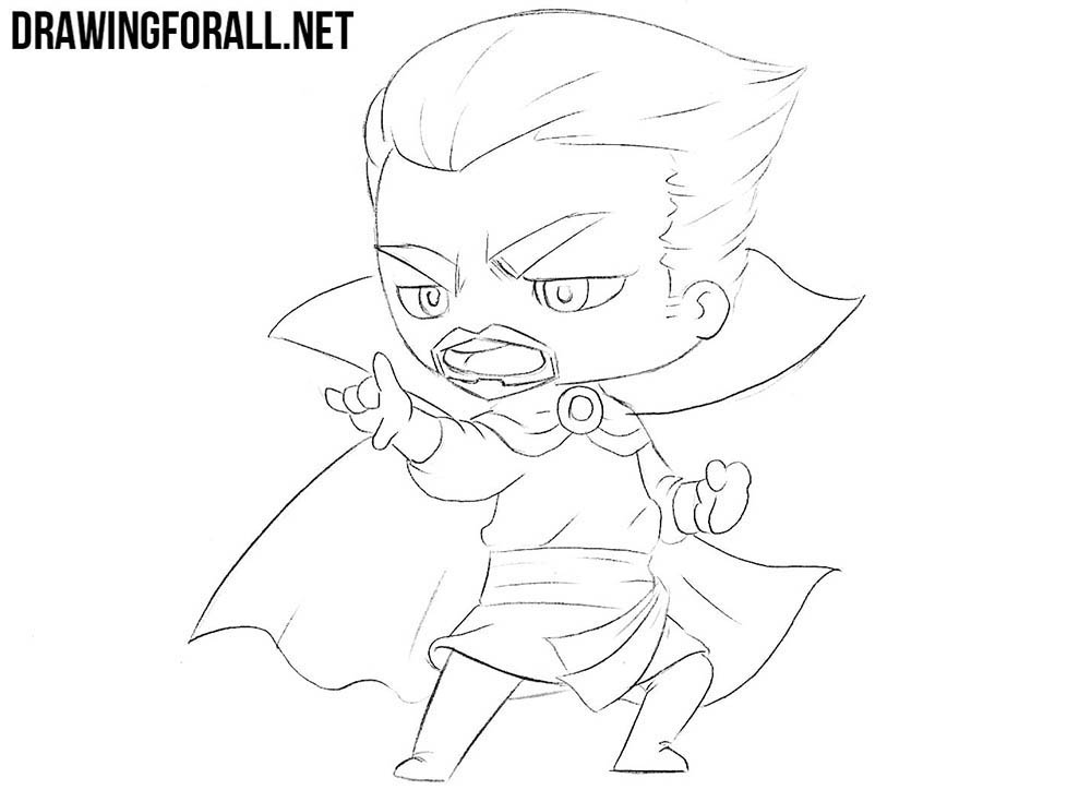 Chibi Dr. Strange drawing tutorial