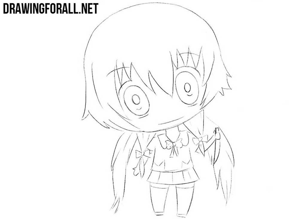 Chibi Yuno Gasai drawing tutorial