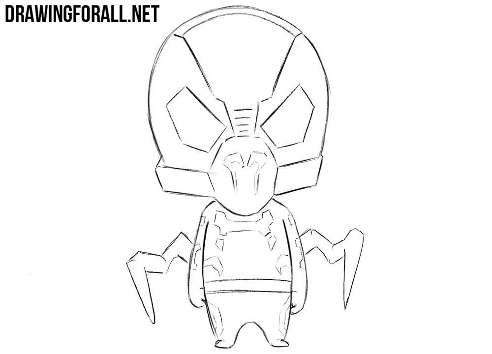 How to draw chibi Yellowjacket from Marvel