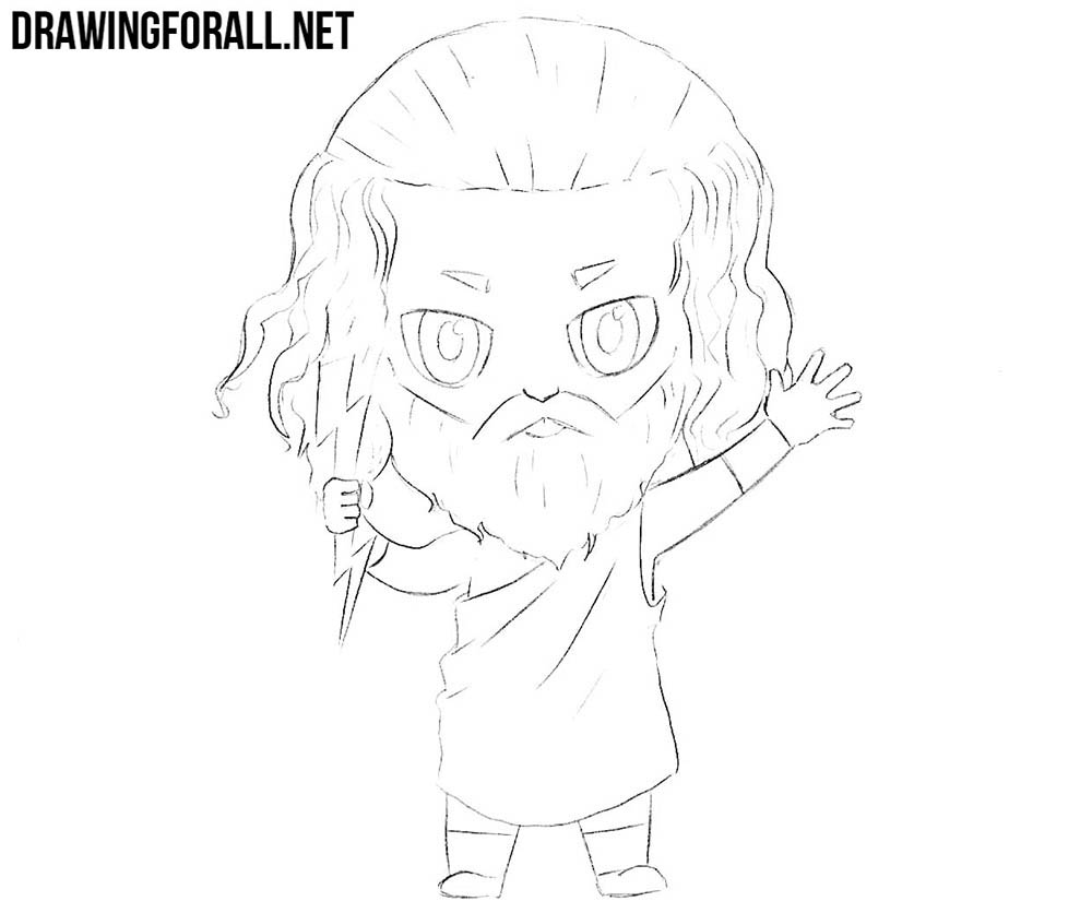 How to draw chibi Zeus easy