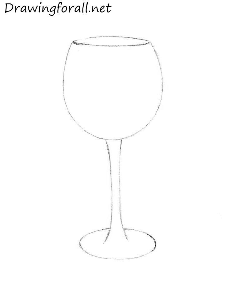 how to draw a wineglass