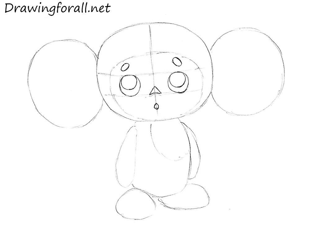 cheburashka pencil drawing