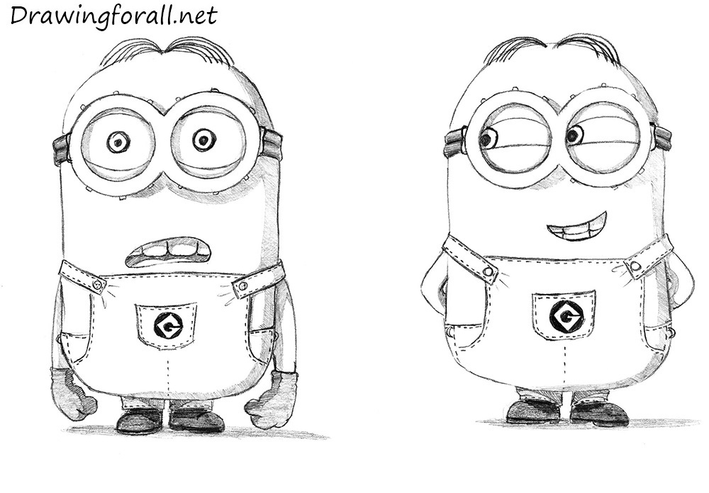 How to Sketch a Minion with Graphite Pencil - YouTube  Easy Minion Pencil Drawings