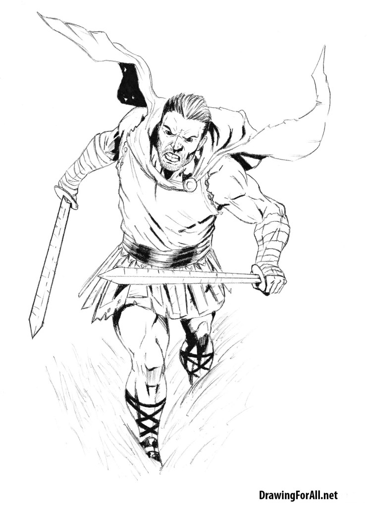 It is a picture of Agile Warrior Pose Drawing