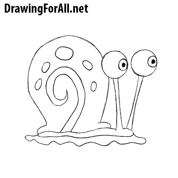 How to Draw Gary the Snail   Drawingforall.net