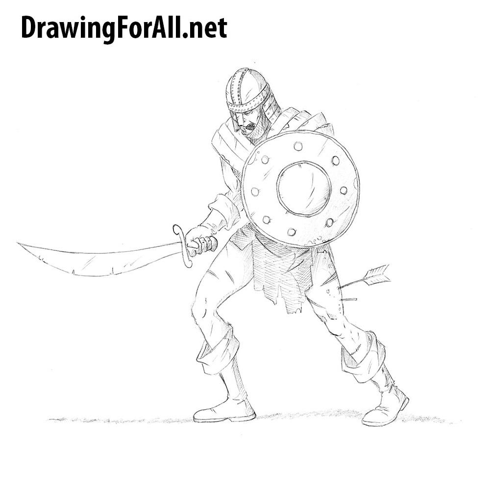 how to draw a zombie warrior drawingforallnet